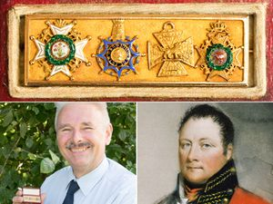 Lieutenant-General Rowland Hill, right, Adrian Stevenson of Hansons Auctioneers, left, and the brooch featuring Lord Hill's medals, top