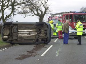 The scene of an accident on the A529 at Woodseaves, near Market Drayton