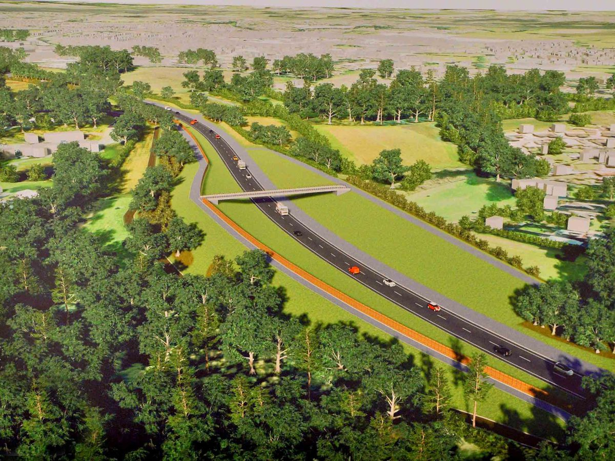 An artist's impression showing part of the planned relief road