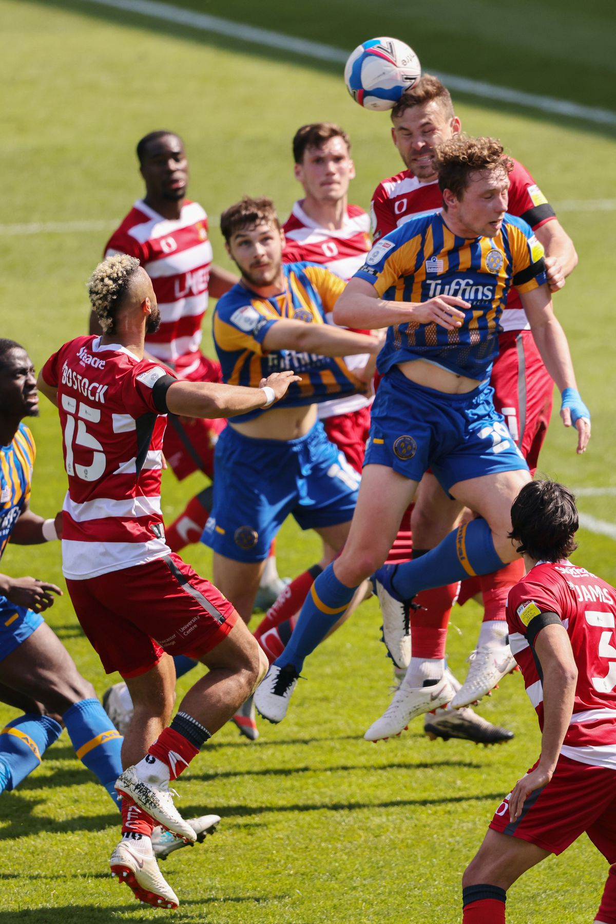 Shrewsbury's Matthew Pennington and Brad Walker competing against Doncaster on Saturday (AMA)