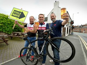 Getting ready for the Nova Raiders Giro d'Joules 2021, from left are club chairman Gary Wade, organiser Steve Urvicki, and landlord Darren Wood, at The New Inn, Newport
