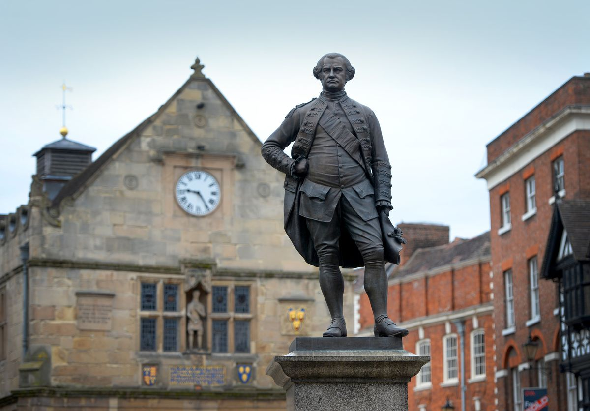 Clive's statue in The Square, Shrewsbury, which some Salopians have called to be removed.
