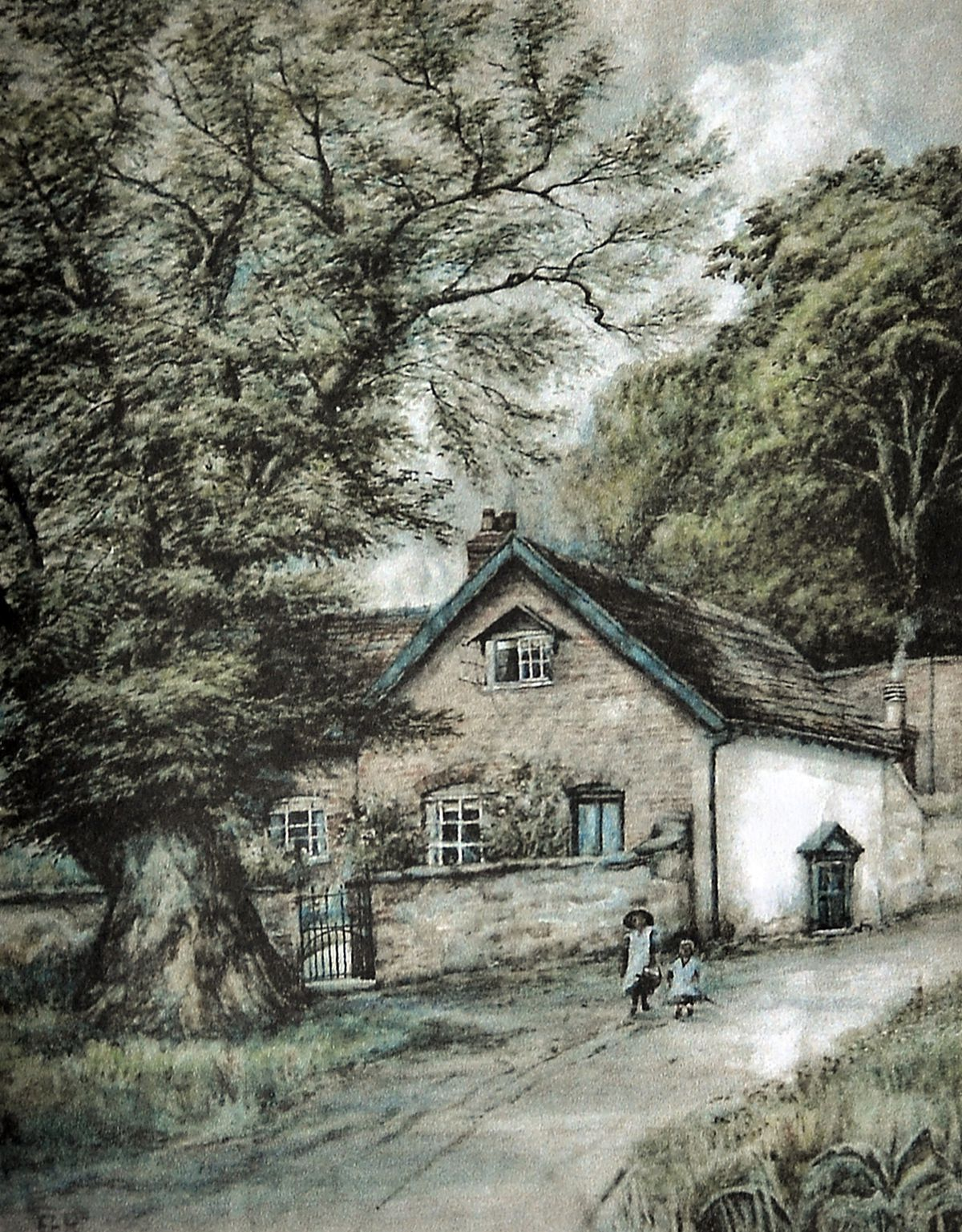 A watercolour of Pryll Cottage from around 1900.