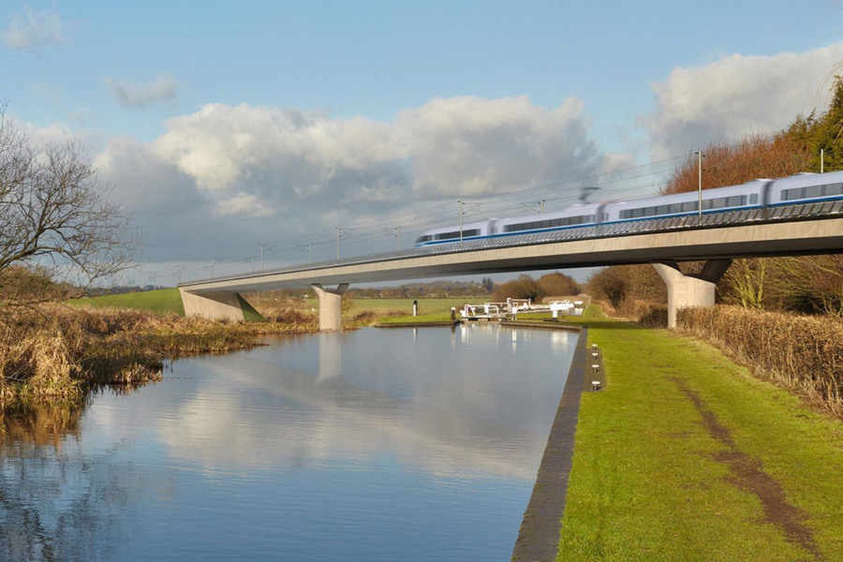 An artist's impression of HS2 passing through the countryside