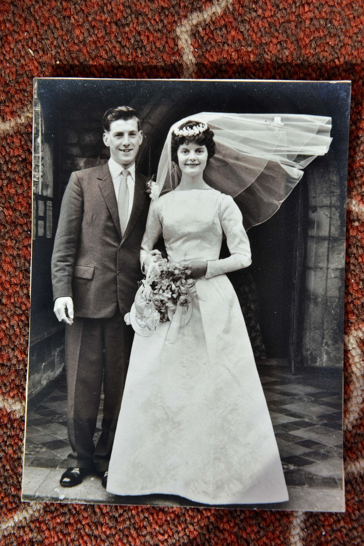 A young Anne and Brian were married at Bitterley Church 60 years ago