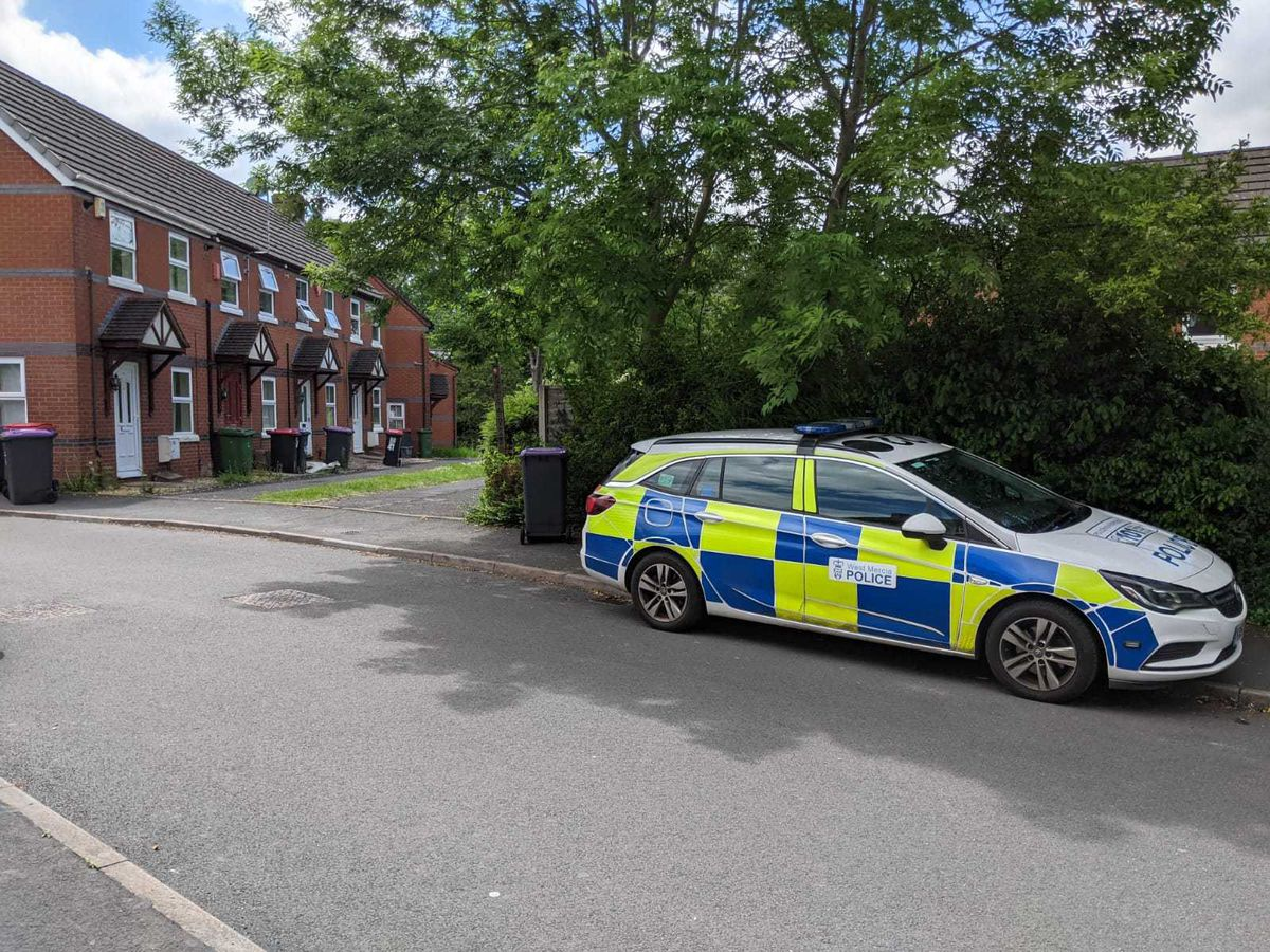 Police in Stonebridge Close, Telford, where a man was found seriously injured. He later died in hospital