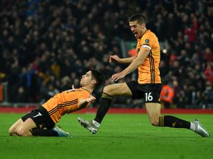 Pedro Neto of Wolverhampton Wanderers celebrates after scoring a goal to make it a disallowed goal ruled out by VAR (AMA/Sam Bagnall)