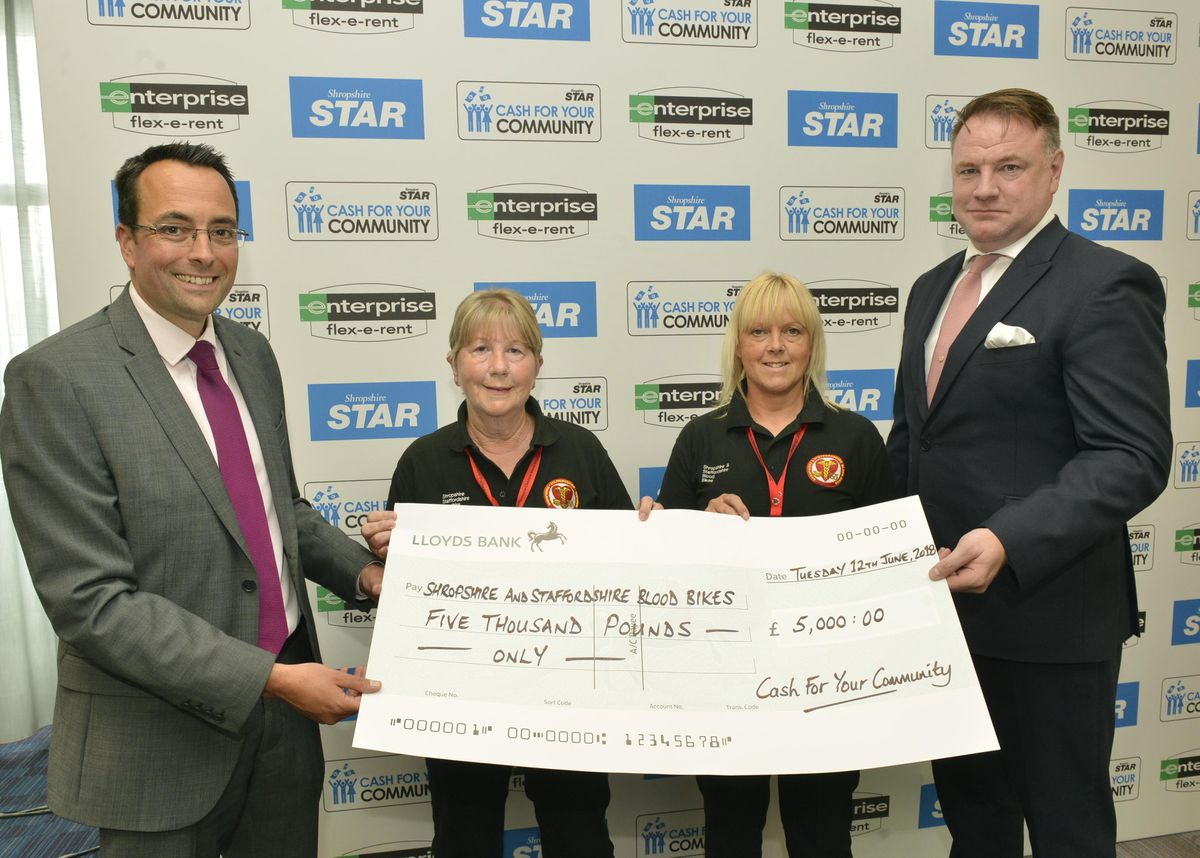 Shropshire Star editor Martin Wright and Danny Glynn of Enterprise Flex-e-Rent hand over a cheque for £5,000 to Shropshire and Staffordshire Blood Bikes