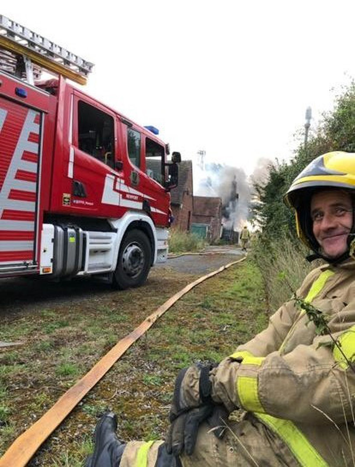 Trevor while out on duty as an on-call firefighter