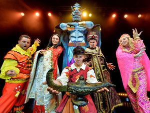 The cast of Aladdin at The Place Theatre in Telford is ready for the festive fun