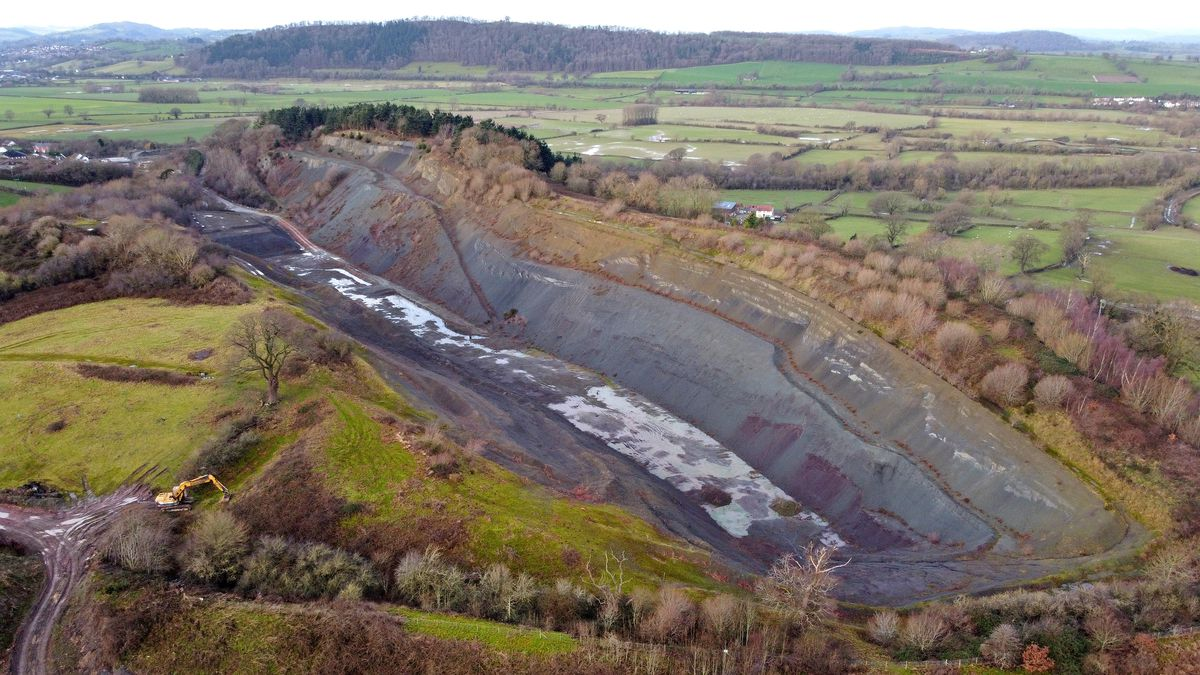 Aerial photo of Buttington Quarry, Welshpool. Photo, Tim Thursfield