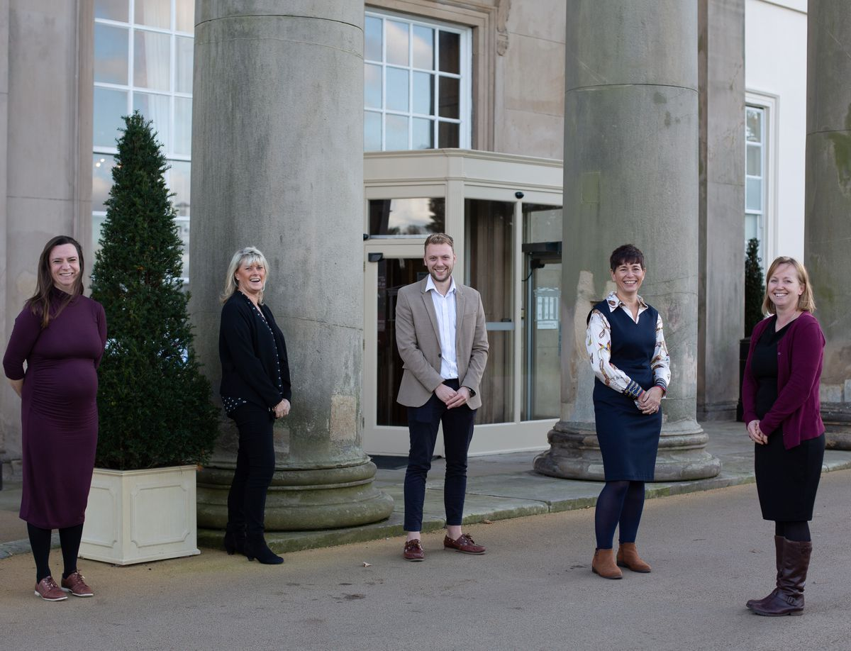 Launching the website outside Concord College are, from left, Helen Povey, Caroline Pocock, Joshua Coffey, Sharon Connor and Kari Quant