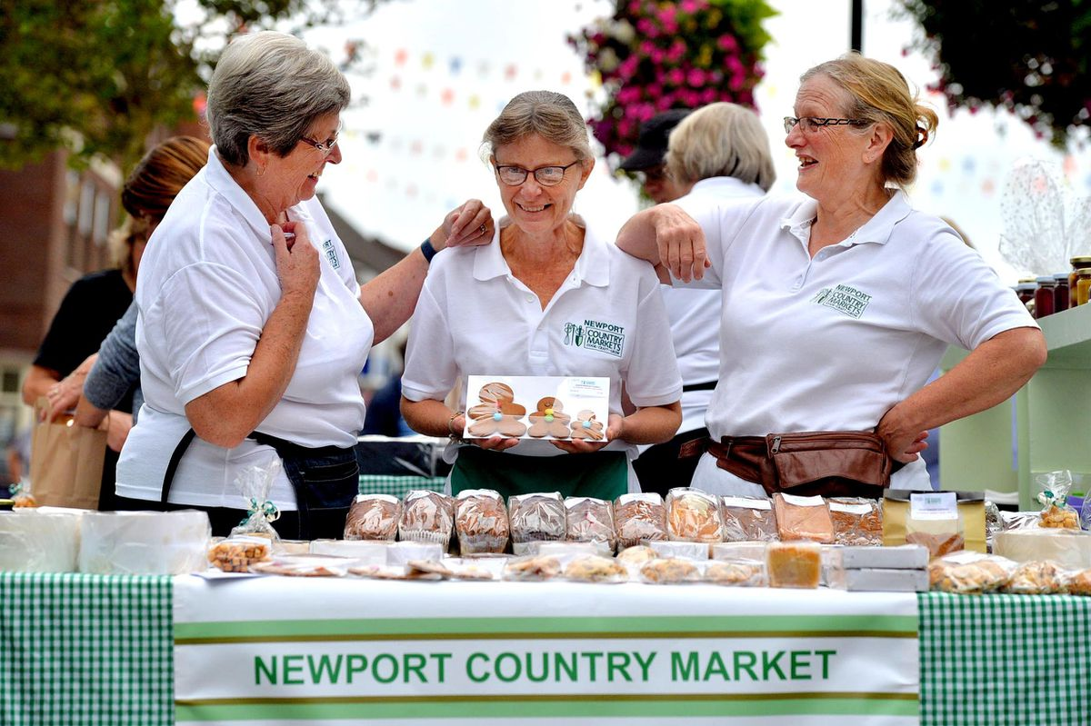 Newport Country Market stall and L-R: Sally Pritchard, Ruth Blackburn and Lucy Giles at Newport Food Frenzy