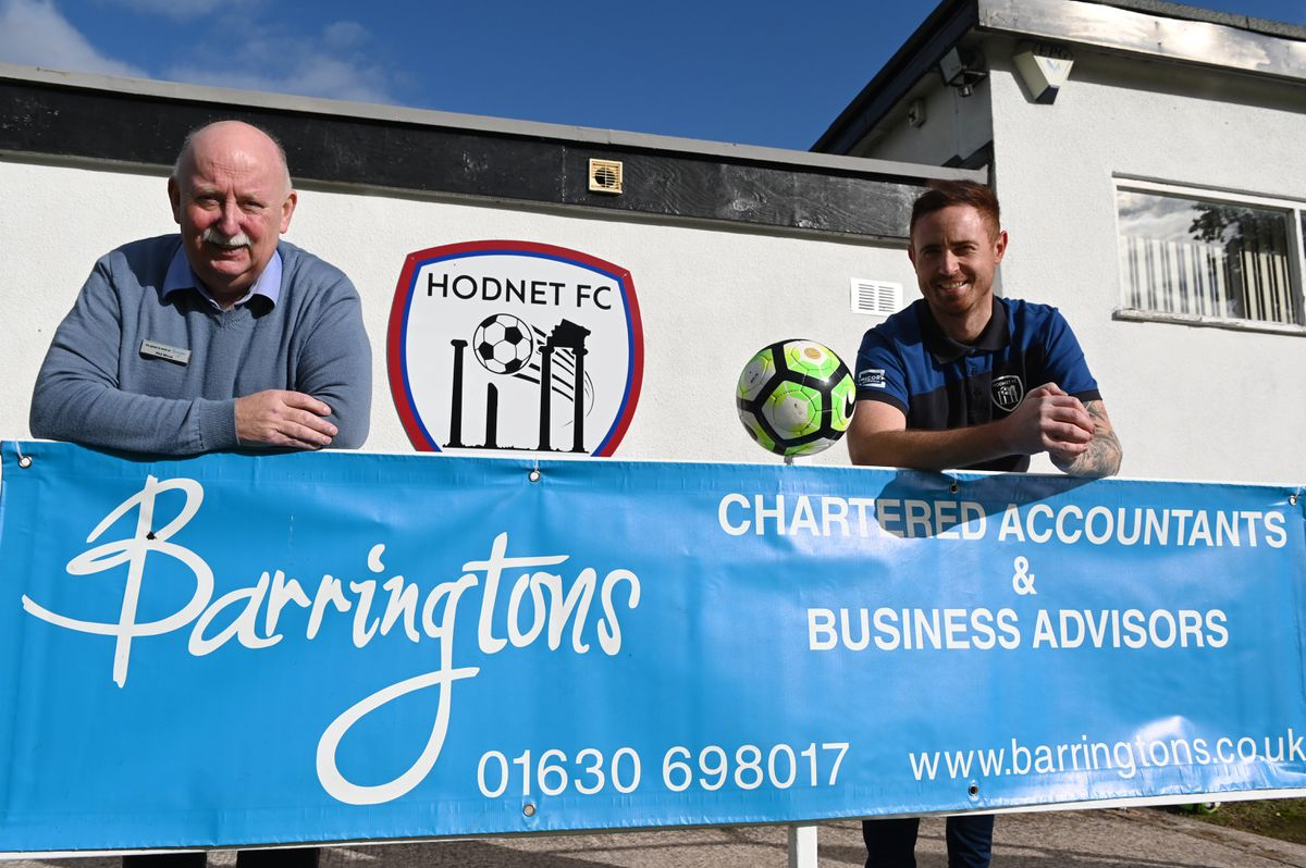 Barringtons managing director Phil Wood, left, and Hodnet FC manager Matthew Allen
