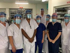 New Cross Hospital medical staff wearing the visors