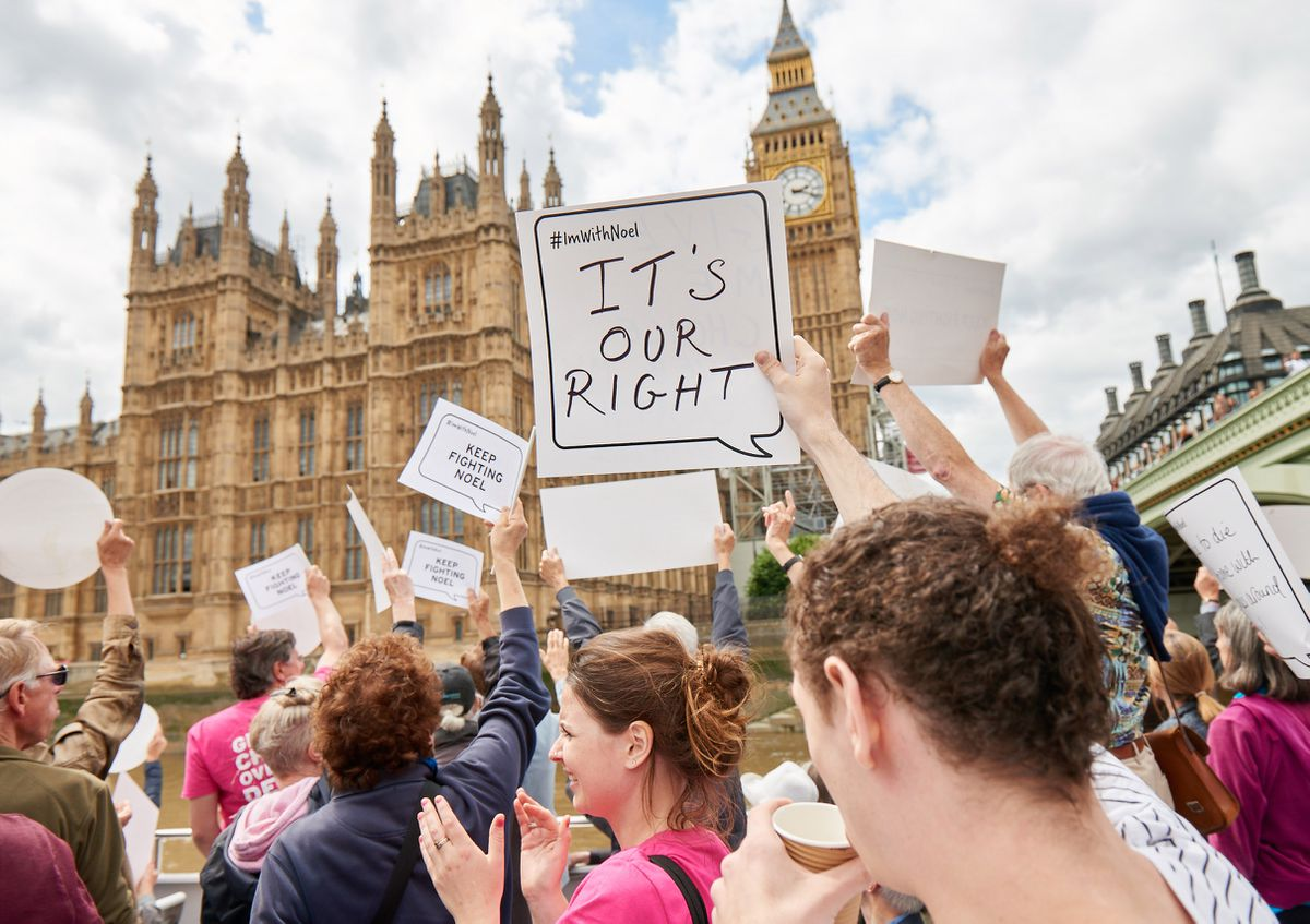 Campaigners calling for a change in the law gathered at Parliament yesterday