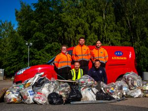 Some of the team with the masses of litter they collected. Back row from left are Chloe Richards, James Hallam and Alex Gammon, all of AR Richards. Front row are Matthew Allen and Adam Rogers. Photo: Michael Wincott Photography