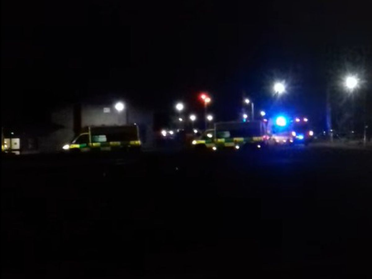 Ambulances queuing at Royal Shrewsbury Hospital on Monday evening