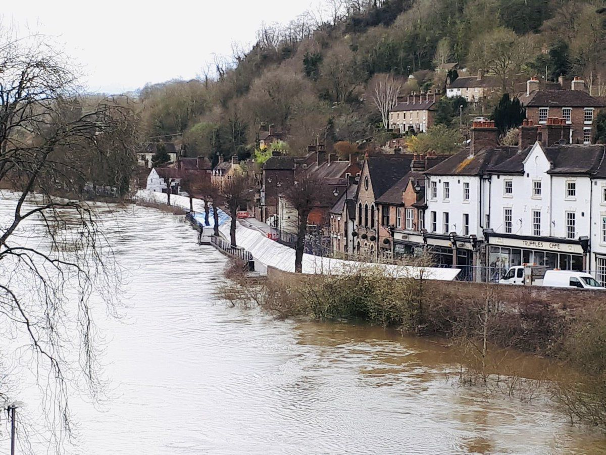 Flood barriers up in Ironbridge. Photo: Nicola Lowery
