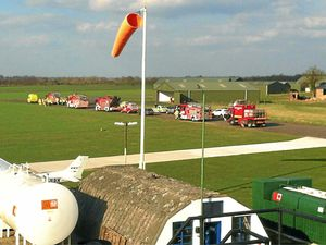 Emergency services at Sleap Airfield for a previous emergency landing