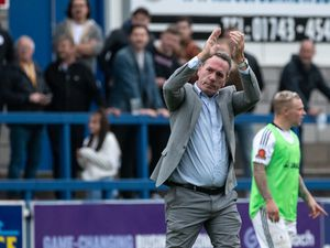 AFC Telford United Interim Manager Dennis Greene clapping fans after AFC Telford United First win with him in charge.