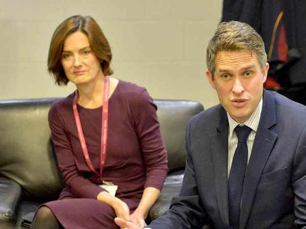 LAST COPYRIGHT SHROPSHIRE STAR STEVE LEATH 18/10/2019..Pics at Thomas Telford School, where Education Secretary: Gavin Williamson was visiting. Pictured MP Lucy Allan and pupil: Jacob France 14..
