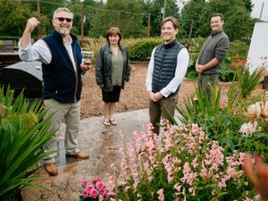 LAST COPYRIGHT SHROPSHIRE STAR JAMIE RICKETTS 07/07/2020 - Vince Derry of Burlington near Shifnal is the Winner of the Bradford Estates Gardening Cup. In Picture L>R: Vince Derry, Wife Maria Derry, Alexander Newport and Matthew Kent..