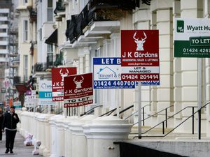 Letting agents' signs outside houses