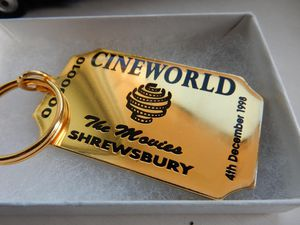 The souvenir key fob presented at the opening of Cineworld in Shrewsbury