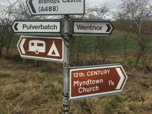 One of the new brown heritage signs for Myndtown Church