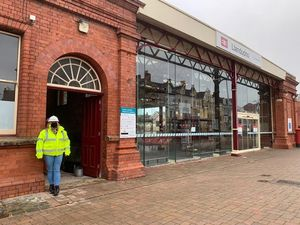 Pictured outside Llandudno station is Karen Williams Community Rail Officer for the Conwy Valley and North West Wales Coast Partnership.