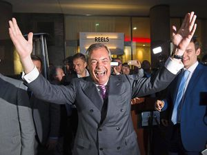 Jubilant Ukip Leader Nigel Farage claiming victory for the Leave campaign as early referendum results came in