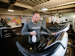 SHREWS COPYRIGHT SHROPSHIRE STAR JAMIE RICKETTS 25/11/2020 - The Shrewsbury Club is preparing to reopen next week after Lockdown restrictions are due to be lifted for a second time. In Picture: Kieran Goussaert (Senior Instructor/Duty Manager) is helping clean down the gym ready for people to use the equipment. .