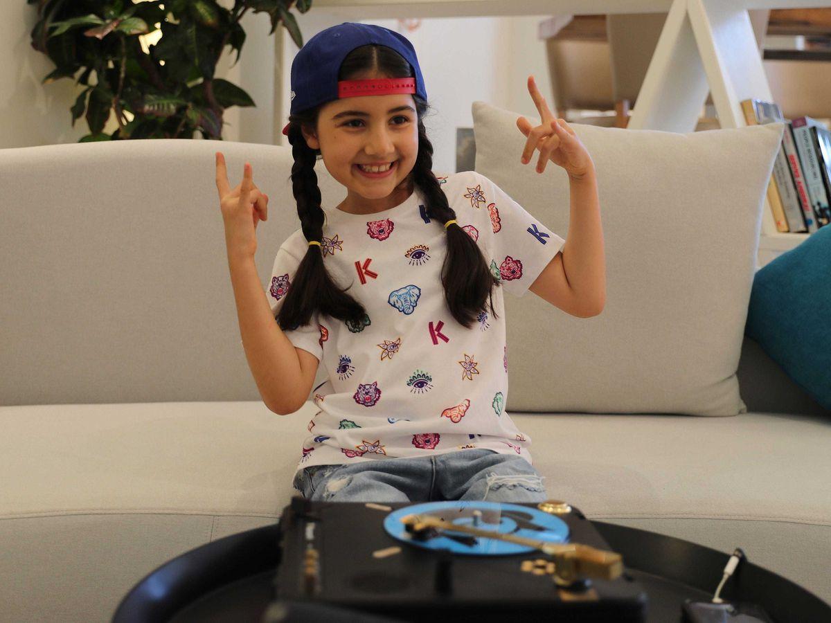 Michelle Rasul in the lobby of her apartment building in Dubai, United Arab Emirates