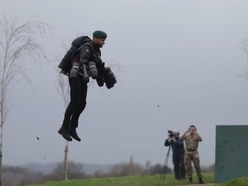 'Real-life Iron Man' takes on Royal Marines assault course with jet suit