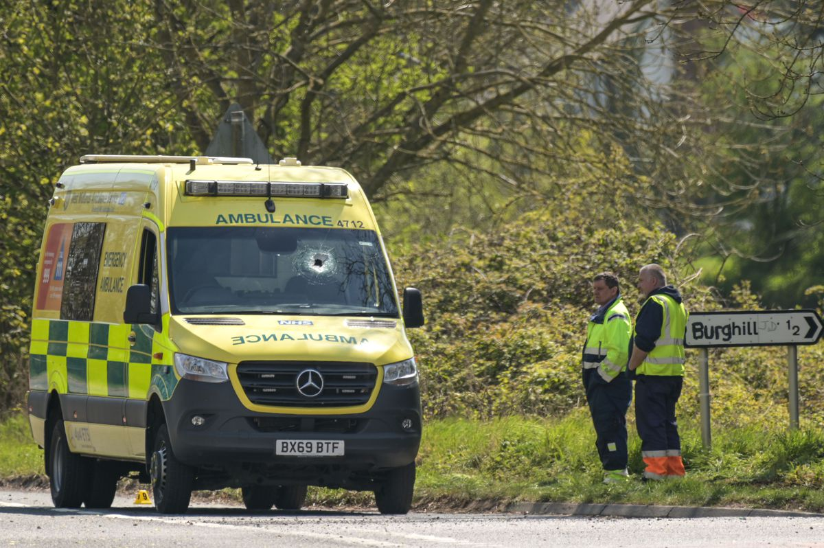 Emergency services at the scene where an ambulance worker was killed. Pic: SnapperSK