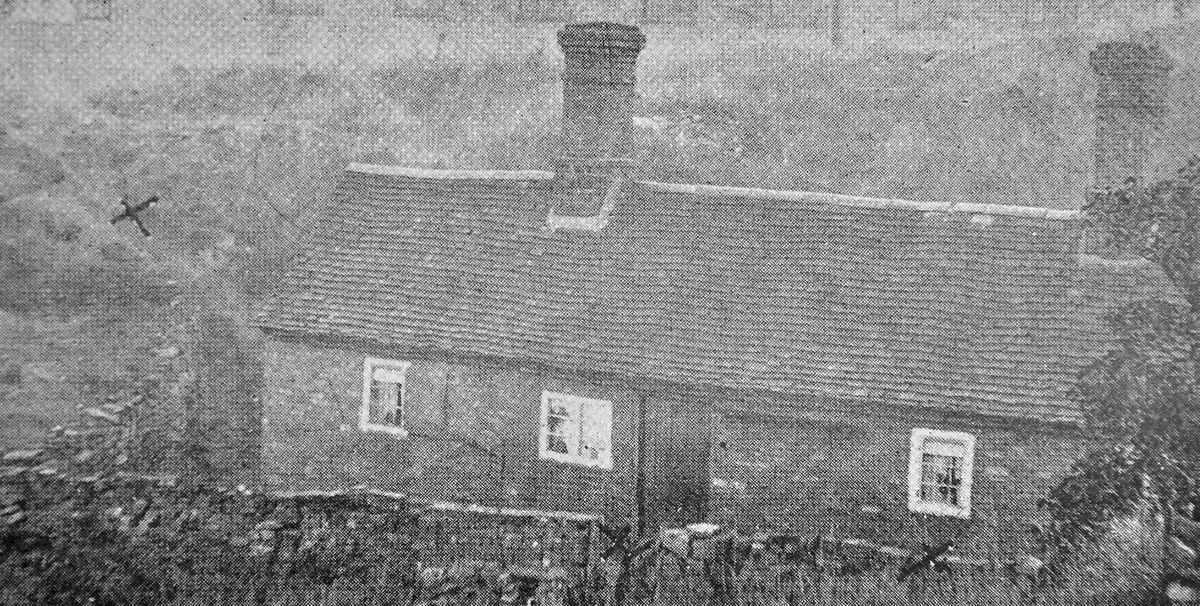 The scene of the tragedy at Mumpton Hill, as seen in a contemporary postcard – the cross on the left probably indicates where Armel or Alice died