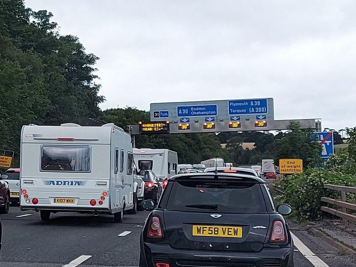 Traffic on the M5 in Cornwall on Saturday (@donna_rco/PA)
