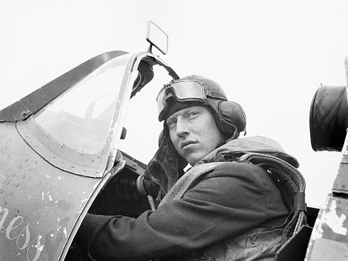 Sergeant James 'Ginger' Lacey, who learned to fly in his spare-time while working as a trainee pharmacist