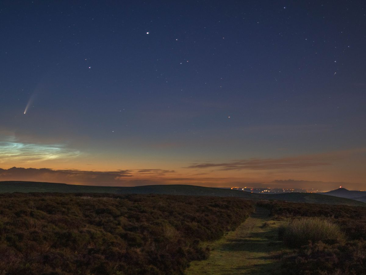 Comet Neowise and noctilucent clouds, as well as a shooting star, with the Wrekin in the bottom right corner. Picture: @SDBPhotography__