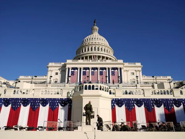 The inauguration stage in front of the US Capitol