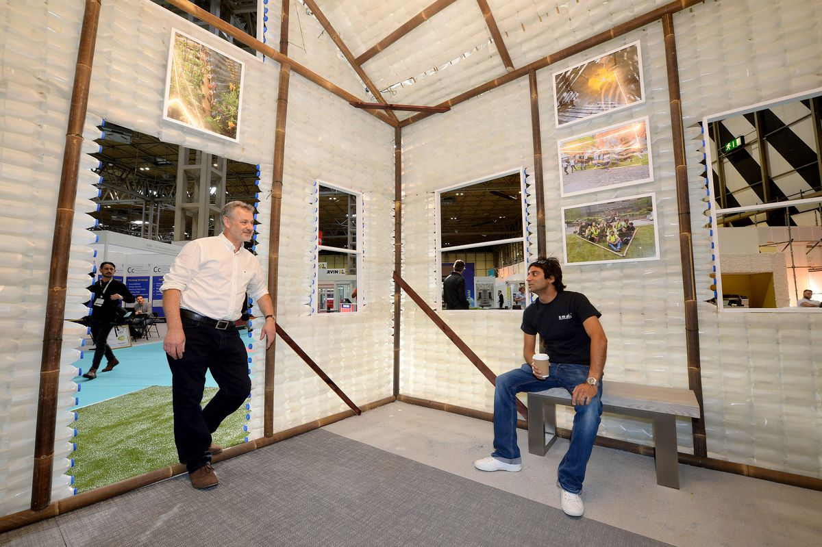 Rob Flaherty and Ricky Sandhu, of Small architects, in their milk bottle house