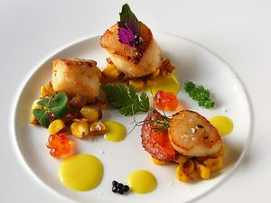 Nice to sea you – the scallop dish served with sweetcorn, caviar and saffron creamPictures by Russell Davies