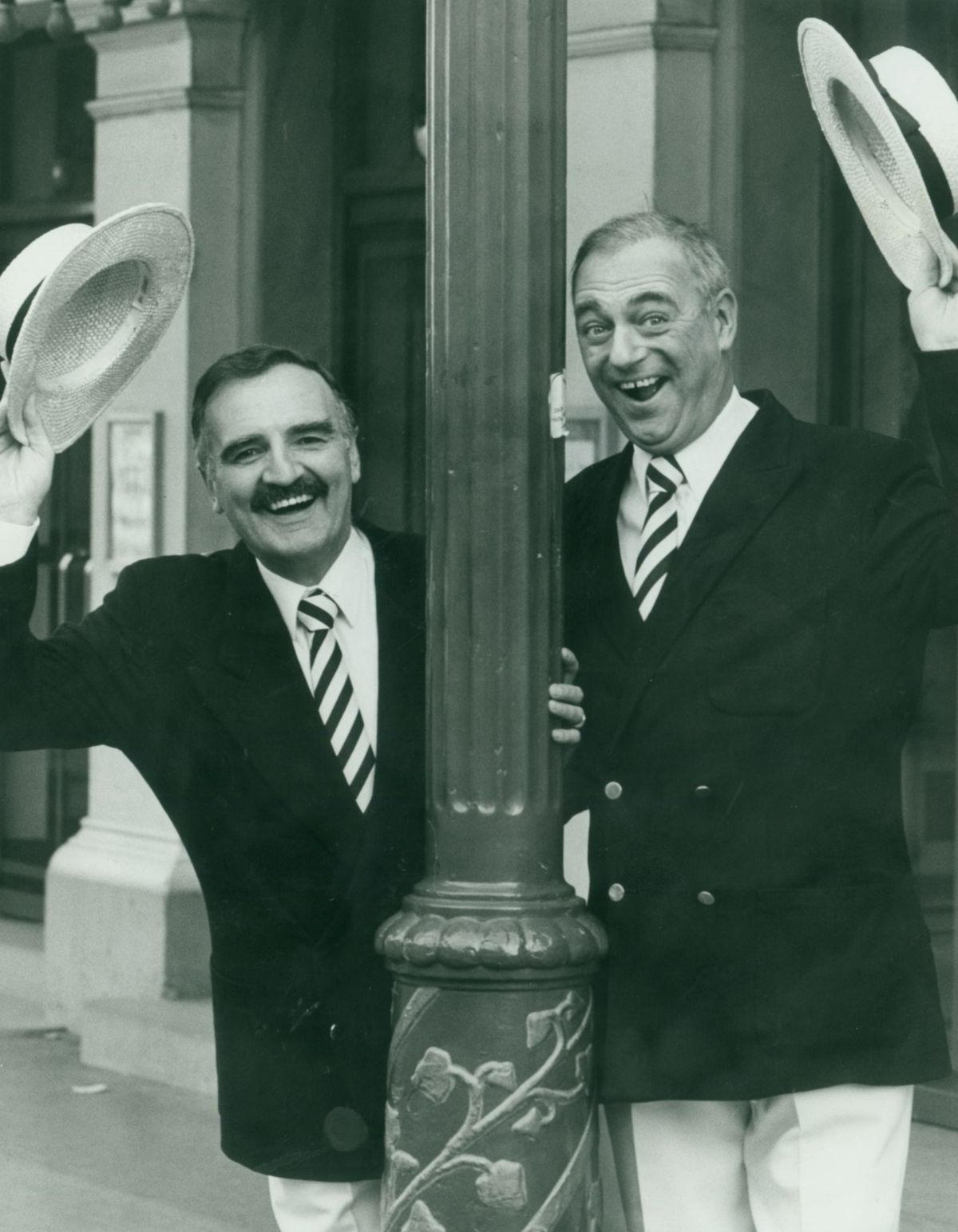 Billy Dainty and Roy Hudd outside the Grand Theatre, Wolverhampton, Just a Verse and Chorus in October 1985