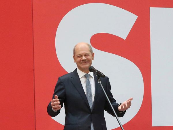 Social Democratic candidate for chancellor Olaf Scholz speaks at party headquarters in Berlin