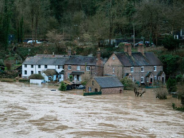 The flooding in the Ironbridge Gorge in 2020