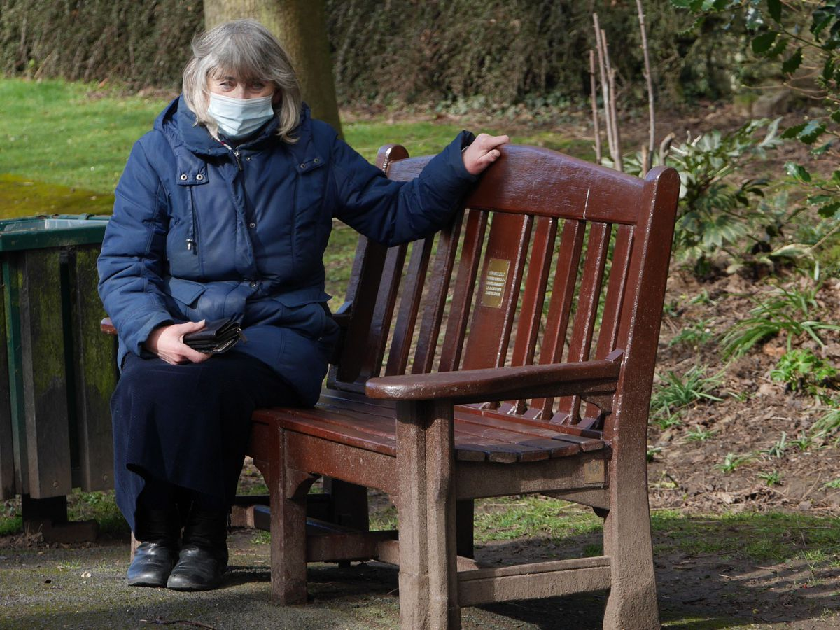 Jean Parker sat on one of the restored benches by Ludlow Castle