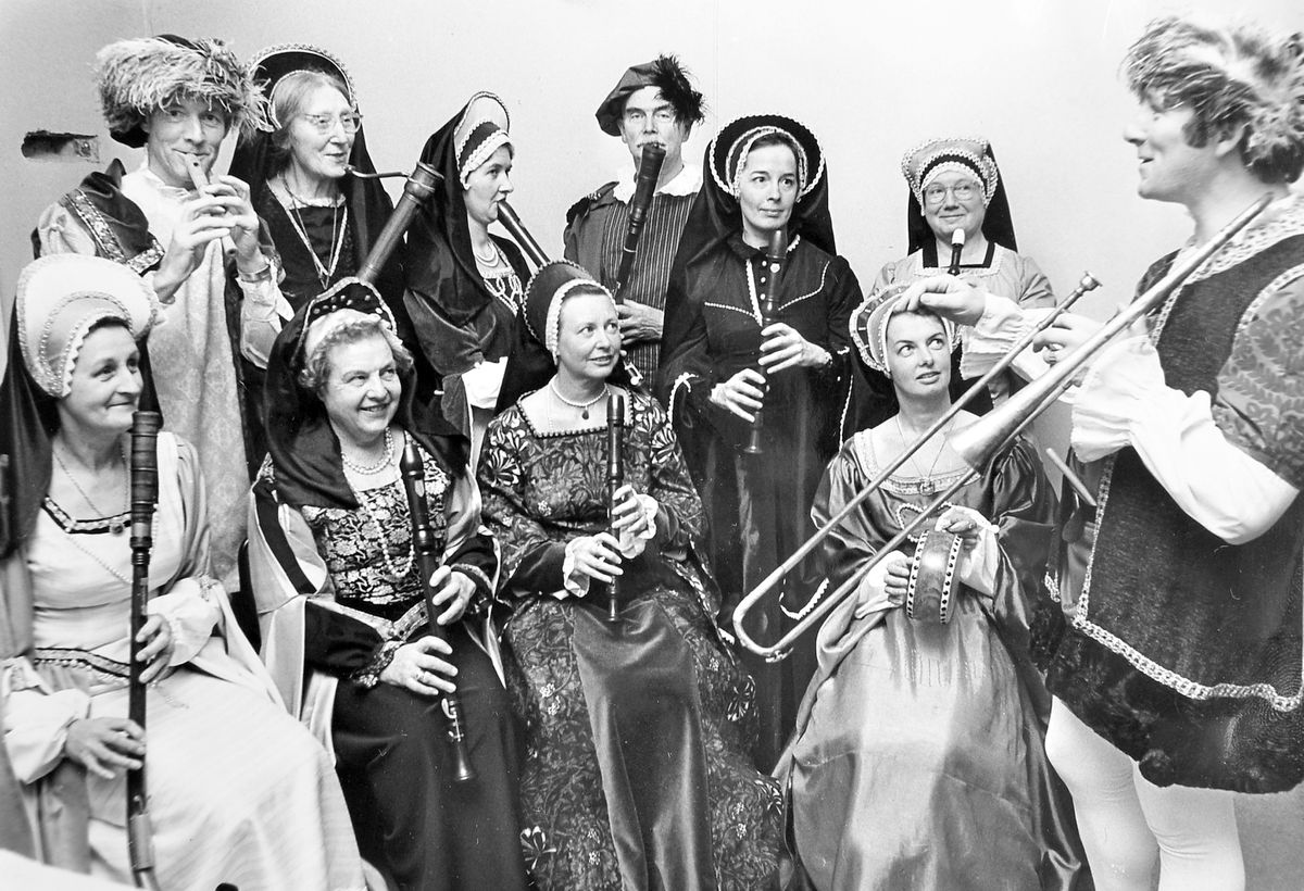 It's December 14, 1979, and Richard Duncan, right, is seen with members of Shrewsbury Consort, a group of entertainers specialising in Tudor-style music, during rehearsals at College Hill House, Shrewsbury. Richard was the leader of the group and they were getting ready for a show at Shrewsbury Castle.