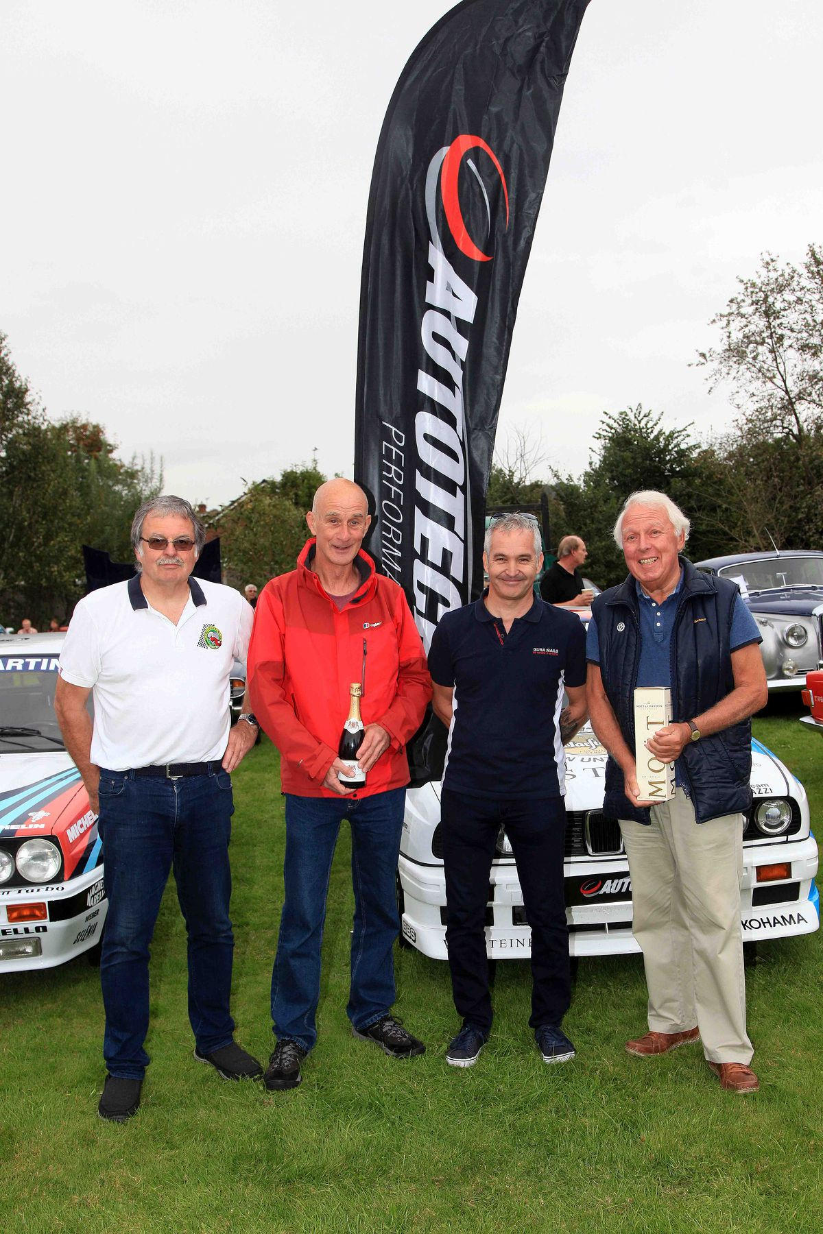 Steve Woodhouse, event organiser and member of Newport Ex Round Table Club, with Glenn Holloway, winner of the best prepared car, Peter Thorpe, event sponsor and Mike Ridley, winner of the visitor favourite car