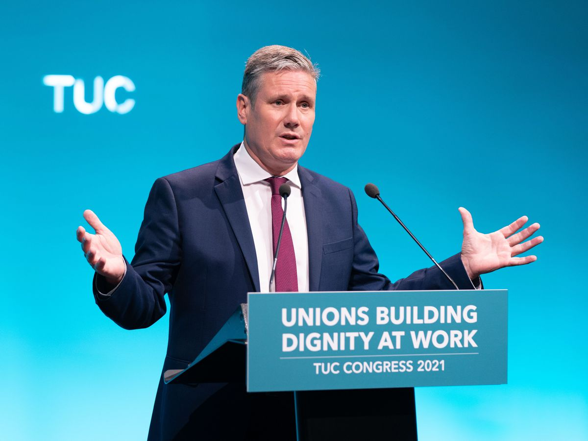 Labour leader Sir Keir Starmer speaking at the TUC congress in London